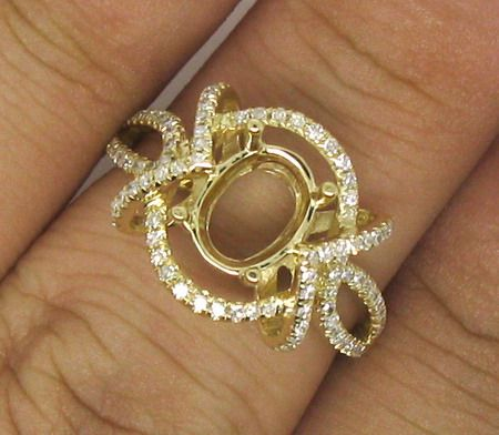 47ct Oval Cut 6.0x8.0mm Solid 14Kt Yellow Gold Diamond Semi Mount Ring