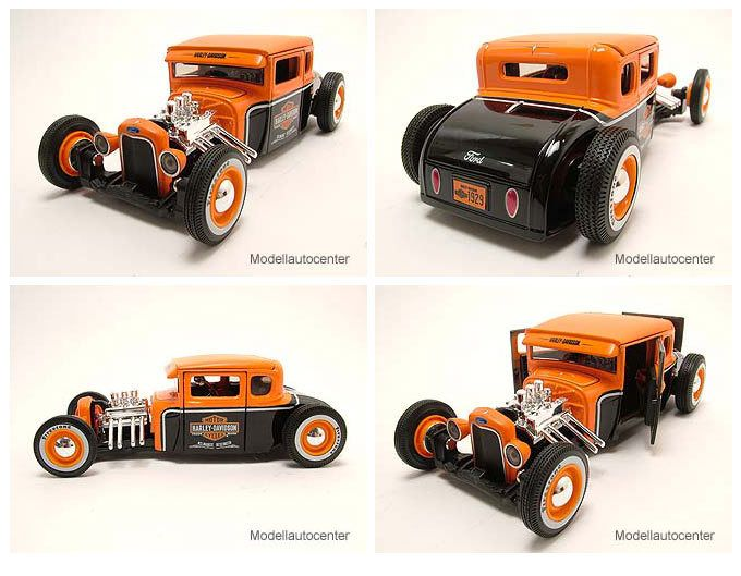 Ford Model A 1929 Hot Rod Harley Davidson schwarz/orange, Modellauto 1